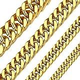 ChainsHouse 5mm Color Oro Cadenas Hombre 50cm Collar de Cadenas cubanas Regalo para Padre Novio