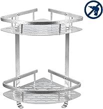 Bathroom Corner Shelf,2 Tiers Shower Shelf (No Drilling) Durable Aluminum Adhesive Suction Corner Shelves