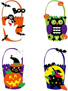 4 Pcs Halloween Craft Kits, DIY Non-woven Basket Bags with Ghosts, Owls, Pumpkins, Witches Ornament for Halloween Party Tr...