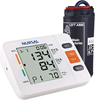NURSAL Blood Pressure Monitor Upper Arm BP Machine Digital Automatic Blood Pressure Meter with Cuff 22-42 cm, 90 Sets Memory, WHO Indicator, Large LCD Screen - FDA Certified