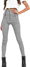 Women's Pencil Pants Vintage High Waist Zip up Checkered Trousers