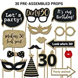 Fully Assembled 30th Birthday Photo Booth Props. 30 Piece Box Set of Gold, Black and Red Accessories with Real Glitter. Original Designs Need No DIY. Great Bday Selfie Party Supply and Decoration Kit.
