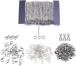 Nsiwem Collares de Cadena 12 Metro cadenas plata de Enlace DIY Collar de Cadena con 30 Cierres de Langosta, 30 Enganches para colgantes y 100 Anillos de Salto