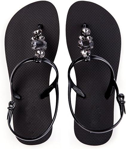 Sandalen Xiaolin Diamant Sommer Schuhe Strass Fashion Flachen Boden Klippzehe Sandy Beach (Optionale Größe) (Farbe   Schwarz Größe   EU37 UK4.5-5 CN37)