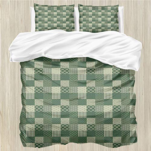 LanQiao Green Oriental,Queen Duvet Cover,Patchwork of Traditional...