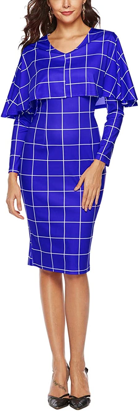 Women Plaid Mini Dress Fall Winter Casual Long Sleeve O-Neck Simple Daily Dresses