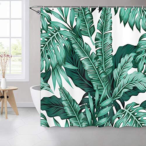 MERCHR Duschvorhang mit tropischen Blättern auf weißem Hintergr&, für Badezimmer, grüne Bananen, türkisfarbene Blätter, tropische Palmenblätter, hawaiianische Dschungel, 175 x 177 cm, Blaugrün