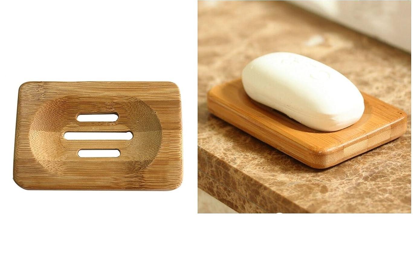 最初計り知れないエンジンC世界1?Soap Dish Soap Dish木製トレイドレン浴室木製ソープケースホルダー長方形スポンジScrubberトレイシンクデッキ浴槽シャワーDish安い竹ソープディッシュナチュラル