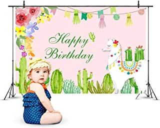 6.6x5ft Alpaca Happy Birthday Backdrop, Amycute Baby Children Party Event Photo Video Props Photography Background Room Wall Decoration