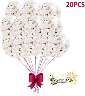Suyisy 20 Pack Rose Gold Confetti Balloons 12