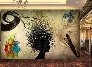 3D Murals Stickers Decorations Wallpaper Wall Nostalgic Silhouette Hairdresser Doodle Decoration Home Living Room Background Landscape Art Kids Kitchen (W)140x(H)100cm