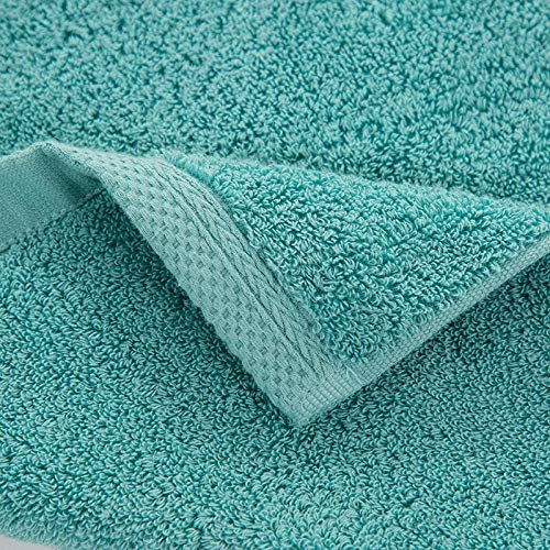 WSS Shoes Toalla de baño para el hogar, de algodón, de lana lisa, juego de tres piezas, toalla cuadrada para la cara, toalla de baño, juego de 3 toallas de baño (color: azul lago, tamaño: juego de 3)