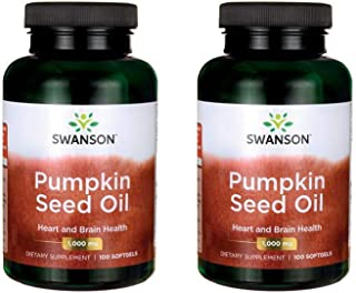 Swanson Pumpkin Seed Oil Brain Health Cardiovascular Support High Bioavailable Essential Fatty Acids (EFAs) Combination Herbal Supplement 1000 mg 100 Softgel Capsules (2 Pack)