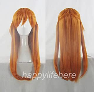 Happylifehere Japanese Anime Bright Orange Long Cosplay Wig with Ponytail (60cm)