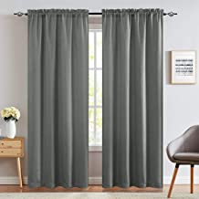 jinchan Linen Fabric Moderate Blackout Curtain Panels for Bedroom Room Darkening Drapes for Living Room Window Treatment S...