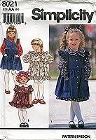Simplicity Pattern 8021 女の子用ドレスとピナフォア サイズAA (2-3-4)