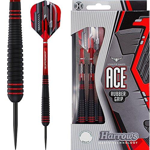 HARROWS Ace Dart–Edelstahl Spitze–aus vulkanisiertem Gummi Grip–22G–mit Darts Ecke gebogen Kugelschreiber