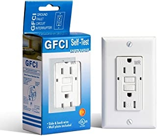 15 Amp GFCI Receptacle Outlet - UL Listed Decora Wall Outlet Duplex Receptacle with LED Indicator Light Receptacle Residential and Office Places Weather Resistant Receptacle Indoor or Outdoor Use