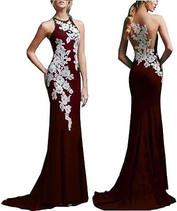 66899d0b7d6d8 Chady Women's Crew Neck Sheer Black Memraid Mother Dresses for Bride 2019  Backless Evening Dresses Long