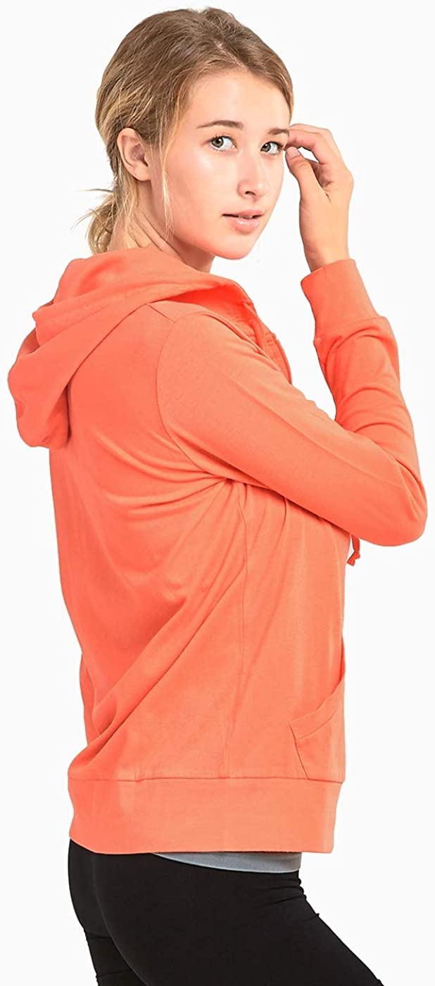 Oliver George Women's Thin Cotton Pullover Hoodie Sweater Women's Thin Cotton Zip Up Hoodie Jacket