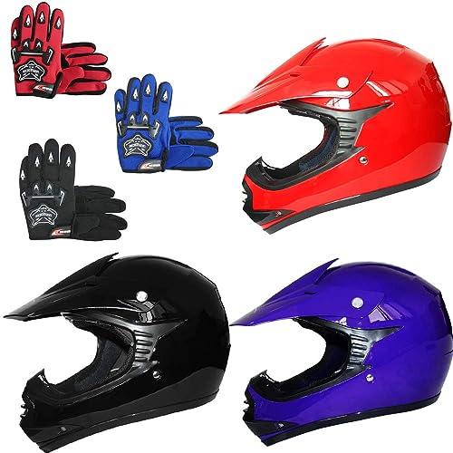 Leopard LEO-X15 Kids Motocross Motorbike Helmet /& Goggles ATV Dirt Bike BMX Quad Off Road Motorcycle MX Helmet Blue L 53-54cm