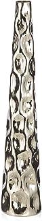 Boho Traders Aluminium Pebble Hammer Round Tall Taper Vase, Small, Silver