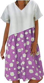 Women Plus Size Casual Short Dress, Ladies V-neck Floral Printed Loose Mini Dress