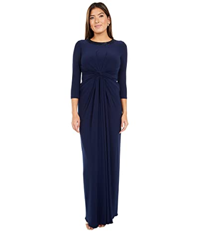Adrianna Papell Beaded Neck Jersey Twist Gown