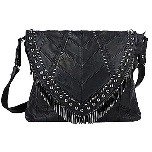 a9a3b9e11b09 Pulama Rivets Studded Fringe Beads Leather Shoulder Bag Women s Lambskin Handbag  Crossbody Bag Adjustable Purse