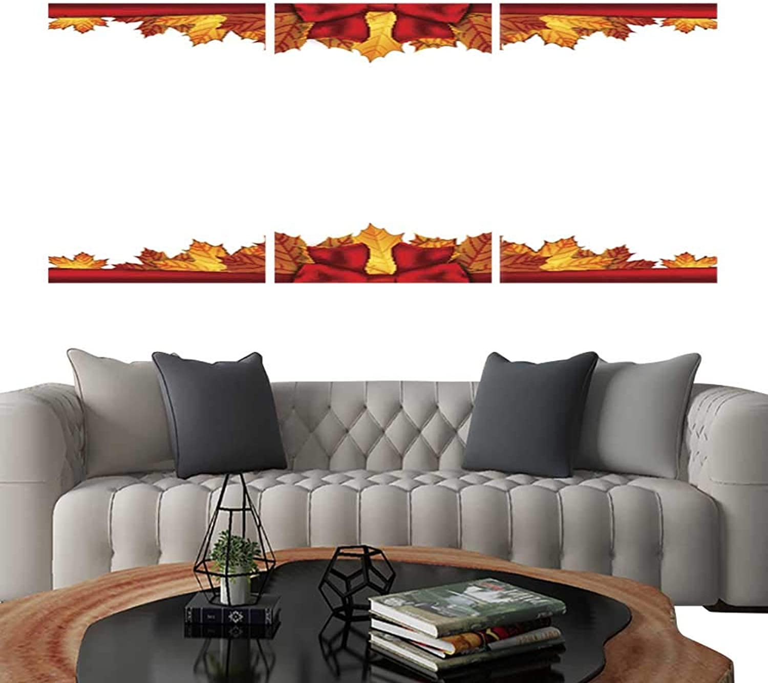 UHOO Modern Flowers PaintingBorder of Autumn maples Leaves Decorated with a red Bow 2. Bedroom Home Decorations 16 x20 x3pcs