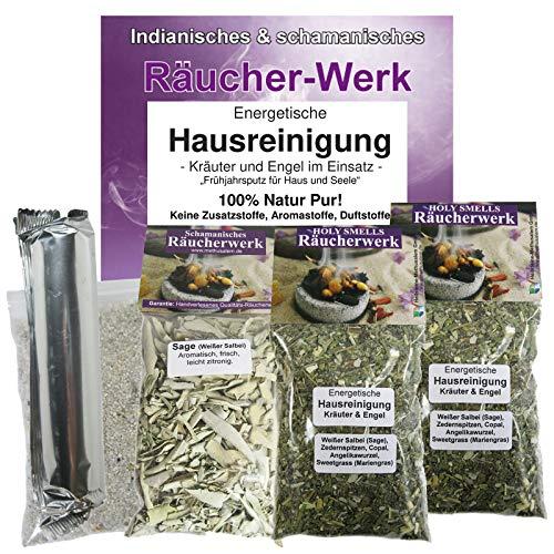 Räuchern 6-tlg Räucherset ENERGETISCHE HAUSREINIGUNG mit Kräuter & Engel Räuchermischung + Sage Salbei + Räucherkohle + Zubehör. 81047