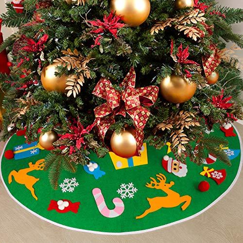 MACTING 35 Inches Felt Christmas Tree Skirt, DIY Xmas Tree Skirt Kits with 26pcs Detachable Tree Ornaments for Kids Christmas Holiday Decorations (Green)