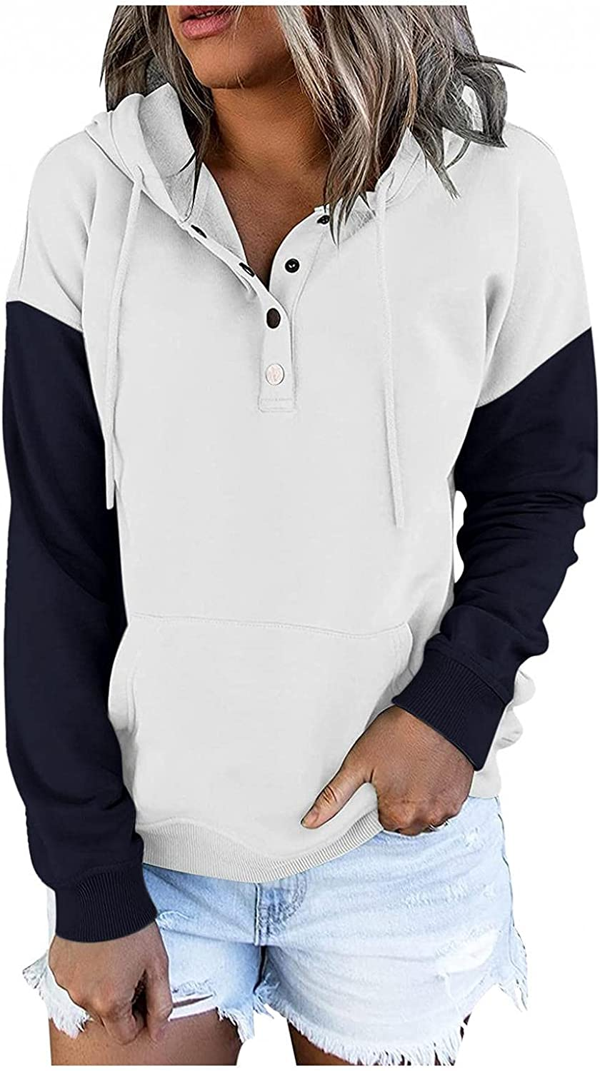 Kaitobe Hoodies for Women Button Down Hooded Pullover Shirts Casual Long Sleeve Drawstring Sweatshirts Tops with Pocket