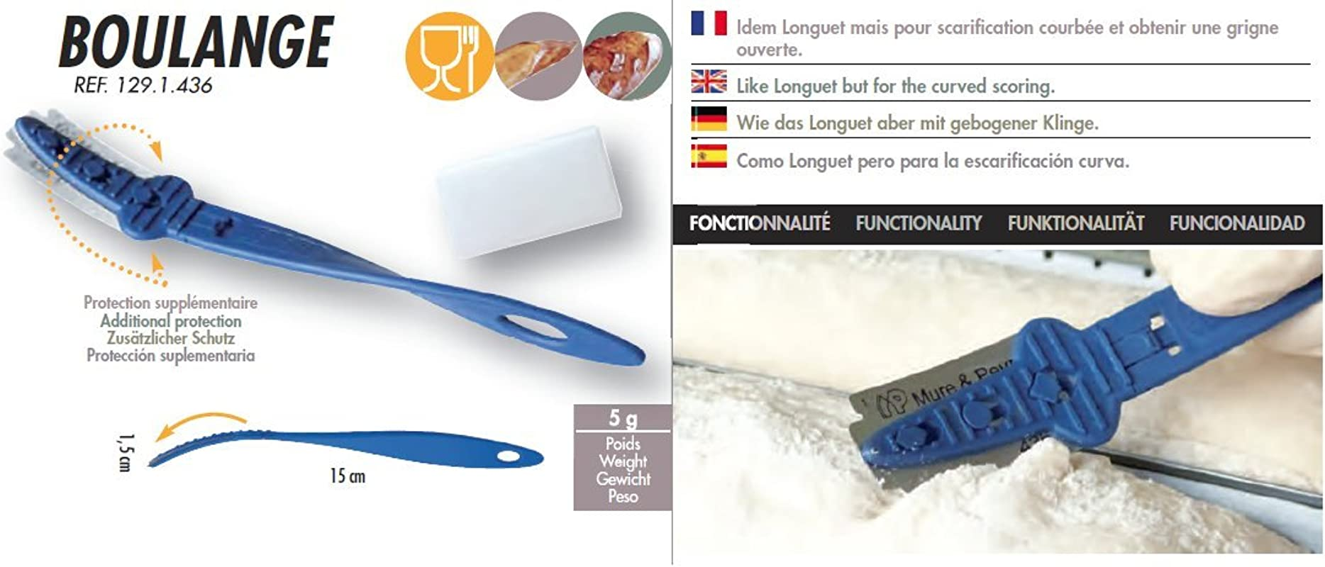 Mure Peyrot Bread Lame Made In France Model Boulange Professional Dough Scoring Tool With Safe Locking Mechanism One Protective Cover And One Blade Included Trusted Brand Since 1904