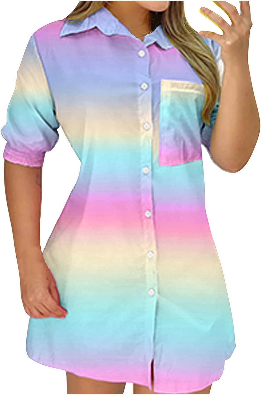 JPLZi Womens Color Block Short Sleeve Button Down Lapel Shirts Boyfriend Dress Slim Fit Blouse T Shirt Dresses Beach Party