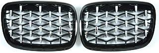 Kecheer 2Pcs Cappuccio paraurti anteriore nero lucido Ricambio griglia corsa Racing per BMW E90 4 porte 2005-2008