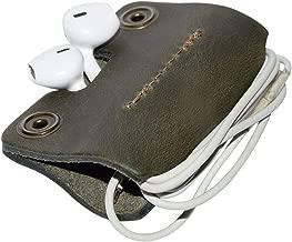 Rustic Leather Cord Keeper (Cord Clam) Cord Snap Wrap Headphone Wrap Tangle Free Cord Sandwich Handmade by Hide & Drink :: Dark Jade