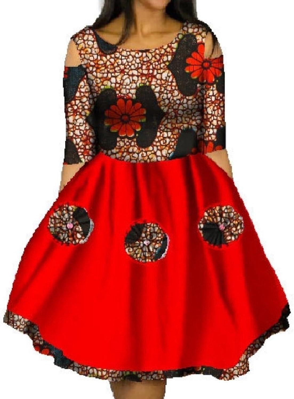 CoolredWomen Plus Size Dashiki Graphic Swing Mini Batik Fashion Party Dress