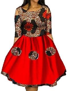 c2906d3d475 YUNY Women Dashiki African Print Mini Plus Size Batik Swing Party Dress