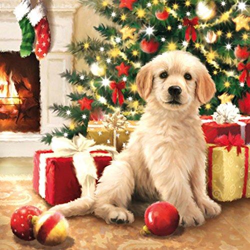 20 Servietten Weihnachten Hund Tiere Geschenke Weihnachtsbaum Christmas 33 x 33