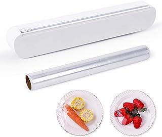 VVBORSN Plastic Wrap Dispenser Reusable Cling Film Dispenser with Slide Cutter Adjustable Length Cling Film Cutter for Pla...