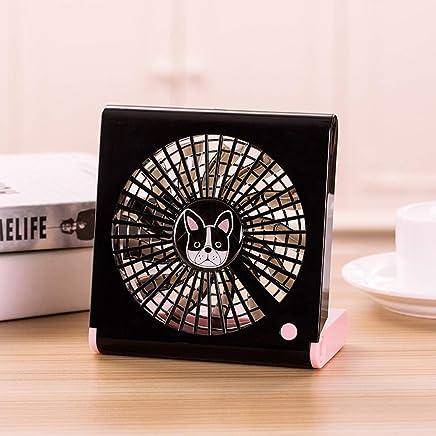 Color : White Black CellphoneMall USB Desk Personal Fan Bulldog Pattern Mini Notebook Folding USB Fan with Wind 3 Speeds