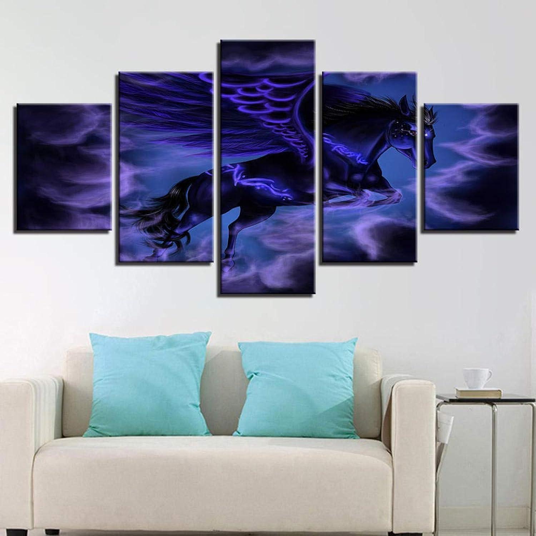 tomamos a los clientes como nuestro dios YHEGV YHEGV YHEGV - Lienzo Decorativo para Parojo, Diseño de Caballo con alas abstractas, Color Morado, Frameless, 20x35 20x45 20x55  cómodo