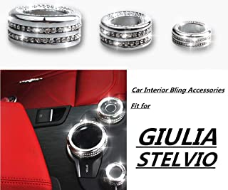 YUWATON Bling Car Interior Accessories Rhinestone Decals for Women for Alfa Romeo Giulia Bling Accessories Central Control Knob Cover 3pcs/Set Silver