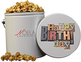 Noela Chocolate Gourmet Popcorn 1 Gallon tin Caramel Happy Birthday