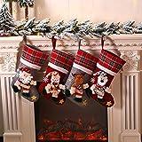 Galapara Medias de Navidad,Juego de 4 Calcetines de Navidad Regalode Decoración Bordado de Muñeco Nieve Mini Botas Bolsillo Calcetín de Tartán de Felpa Roja para Año de Dulces Presenta