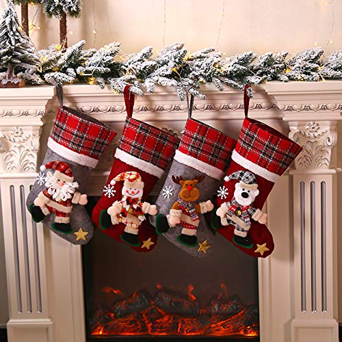 Galapara Weihnachtsstrumpf 4er Set, Weihnachtssocke Weihnachten Kreative Puppe Weihnachten Socken Geschenkbeutel Weihnachtsbaum Anhänger Weihnachtsdekoration Für Weihnachtsfeier Dekorieren