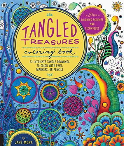 Tangled Treasures Coloring Book: 52 Intricate Tangle Drawings to Color with Pens,...
