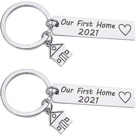 KESYOO 2Pcs 2021 Nouveau Porte-Clés à La Maison Notre Premier Porte-Clés à La Maison Nouveaux Propriétaires de Maison Porte-Clés Cadeaux de Pendaison de Crémaillère