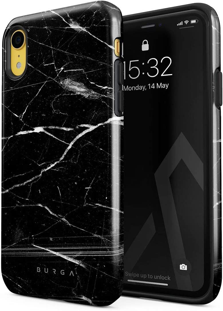 BURGA Phone Case Compatible with iPhone XR - Noir Origin Black Marble Cute Case for Women Heavy Duty Shockproof Dual Layer Hard Shell + Silicone Protective Cover